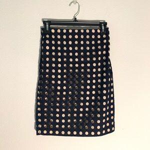 Ann Taylor Navy Blue Polka Dot Pencil Skirt